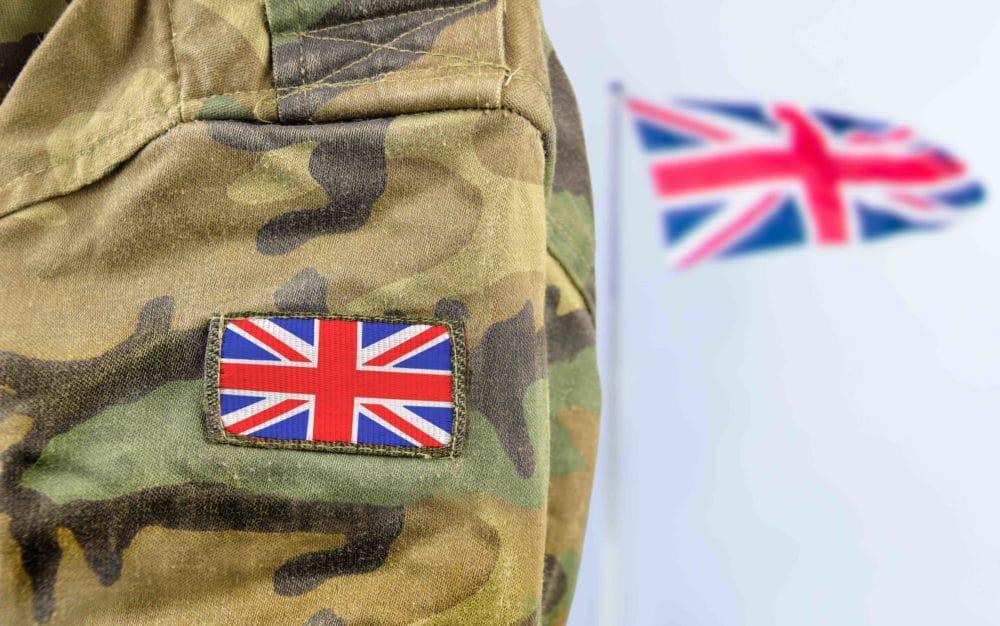British Soldier Uniform and Union Jack in background